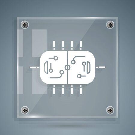 White Hockey table icon isolated on grey background. Square glass panels. Vector Illustration Ilustração