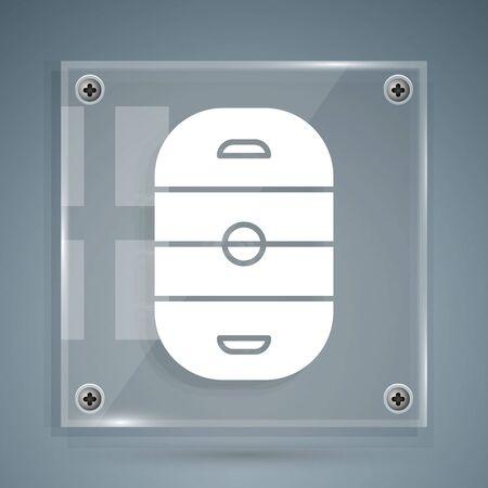 White Ice hockey rink icon isolated on grey background. Hockey arena. Square glass panels. Vector Illustration