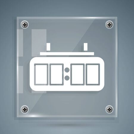 White Sport hockey mechanical scoreboard and result display icon isolated on grey background. Square glass panels. Vector Illustration