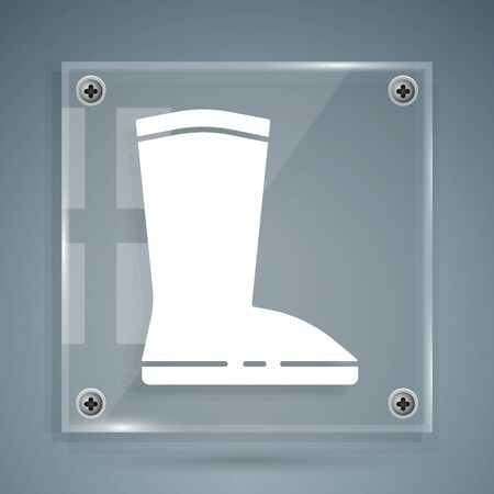 White Waterproof rubber boot icon isolated on grey background. Gumboots for rainy weather, fishing, gardening. Square glass panels. Vector Illustration 向量圖像