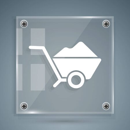 White Wheelbarrow with dirt icon isolated on grey background. Tool equipment. Agriculture cart wheel farm. Square glass panels. Vector Illustration
