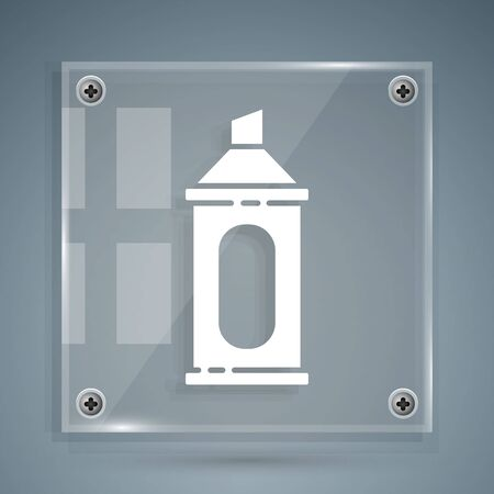 White Marker pen icon isolated on grey background. Square glass panels. Vector Illustration 向量圖像