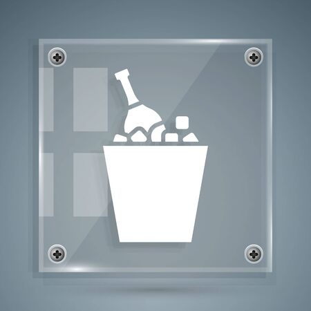 White Bottle of champagne in an ice bucket icon isolated on grey background. Square glass panels. Vector Illustration