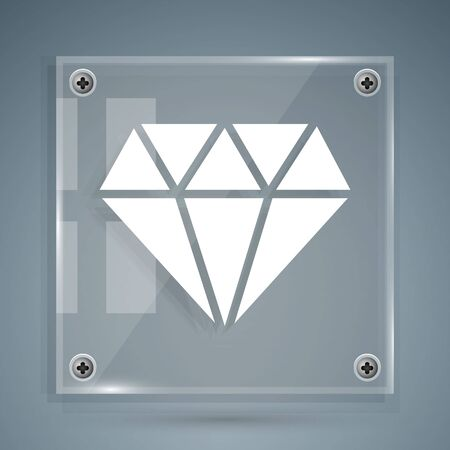 White Diamond icon isolated on grey background. Jewelry symbol. Gem stone. Square glass panels. Vector Illustration