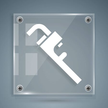 White Pipe adjustable wrench icon isolated on grey background. Square glass panels. Vector Illustration