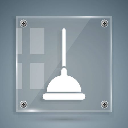 White Rubber plunger with wooden handle for pipe cleaning icon isolated on grey background. Toilet plunger. Square glass panels. Vector Illustration