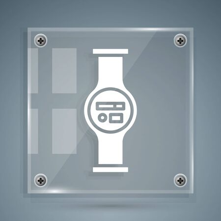 White Water meter with pipeline icon isolated on grey background. Square glass panels. Vector Illustration Vectores