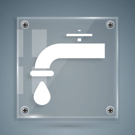 White Water tap with a falling water drop icon isolated on grey background. Square glass panels. Vector Illustration Illustration