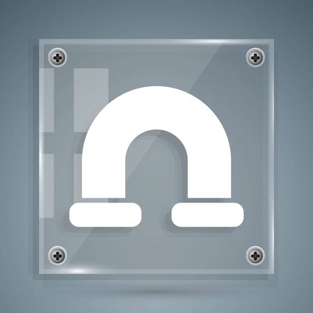 White Industry metallic pipe icon isolated on grey background. Plumbing pipeline parts of different shapes. Square glass panels. Vector Illustration