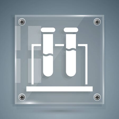 White Test tube and flask chemical laboratory test icon isolated on grey background. Laboratory glassware sign. Square glass panels. Vector Illustration  イラスト・ベクター素材