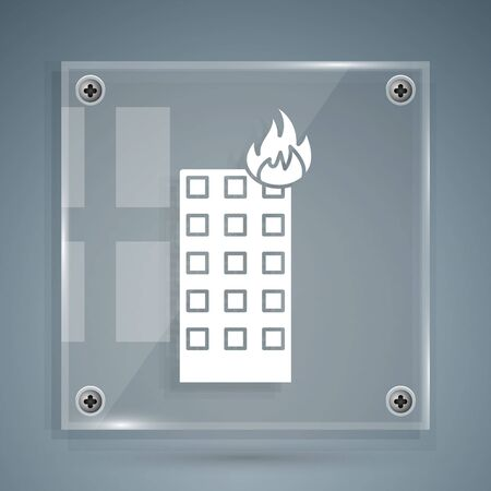 White Fire in burning building on city street icon isolated on grey background. Square glass panels. Vector Illustration