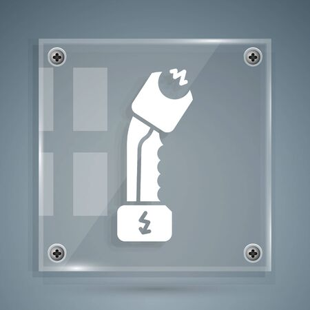 White Police electric shocker icon isolated on grey background. Shocker for protection. Taser is an electric weapon. Square glass panels. Vector Illustration