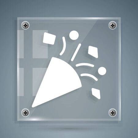 White Festive confetti icon isolated on grey background. Square glass panels. Vector Illustration  イラスト・ベクター素材