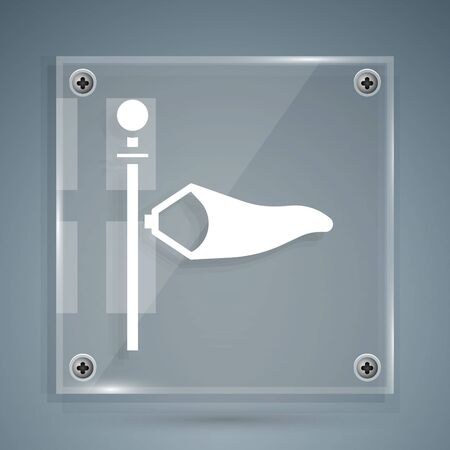 White Cone meteorology windsock wind vane icon isolated on grey background. Windsock indicate the direction and strength of the wind. Square glass panels. Vector Illustration