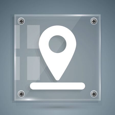 White Map pin icon isolated on grey background. Navigation, pointer, location, map, gps, direction, place, compass, search concept. Square glass panels. Vector Illustration