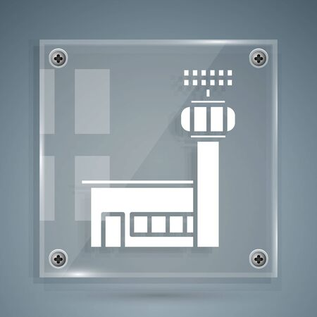White Airport control tower icon isolated on grey background. Square glass panels. Vector Illustration