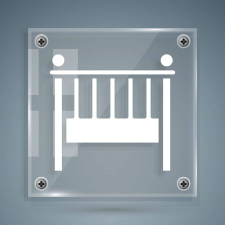White Baby crib cradle bed icon isolated on grey background. Square glass panels. Vector Illustration