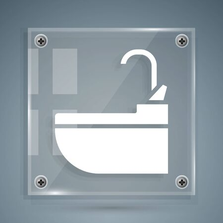 White Washbasin with water tap icon isolated on grey background. Square glass panels. Vector Illustration