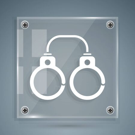 White Sexy fluffy handcuffs icon isolated on grey background. Fetish accessory. Sex shop stuff for sadist and masochist. Square glass panels. Vector Illustration