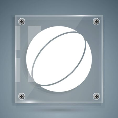 White Beach ball icon isolated on grey background. Square glass panels. Vector Illustration
