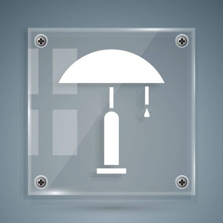 White Table lamp icon isolated on grey background. Square glass panels. Vector Illustration