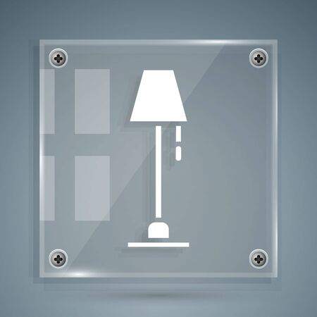 White Floor lamp icon isolated on grey background. Square glass panels. Vector Illustration Illustration