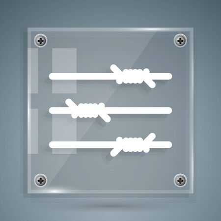 White Barbed wire icon isolated on grey background. Square glass panels. Vector Illustration Illusztráció