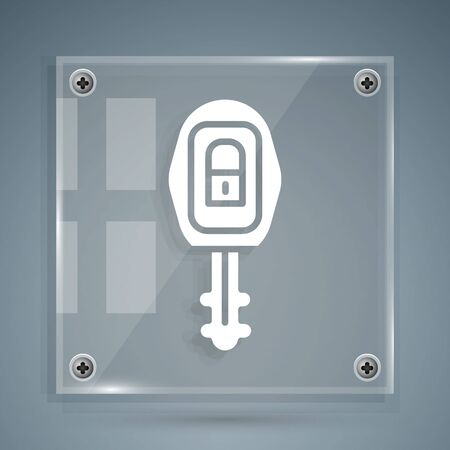 White Car key with remote icon isolated on grey background. Car key and alarm system. Square glass panels. Vector Illustration