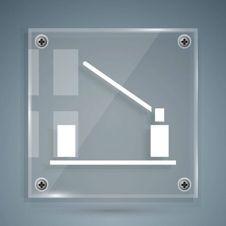 White Parking car barrier icon isolated on grey background. Street road stop border. Square glass panels. Vector Illustration