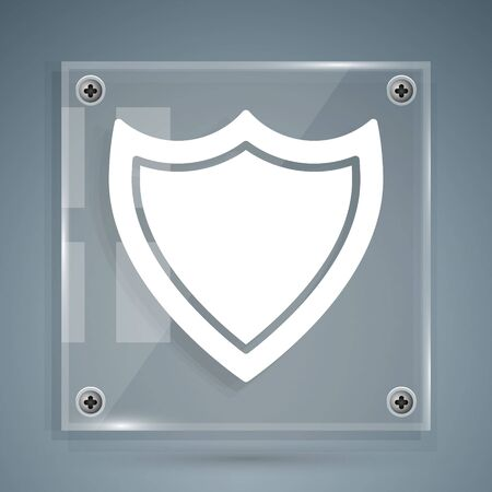White Shield icon isolated on grey background. Guard sign. Security, safety, protection, privacy concept. Square glass panels. Vector Illustration