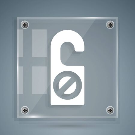 White Please do not disturb icon isolated on grey background. Hotel Door Hanger Tags. Square glass panels. Vector Illustration