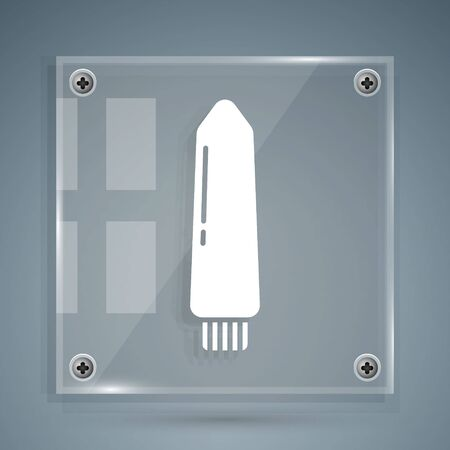 White Dildo for games icon isolated on grey background. Sex toy for adult. Vaginal exercise machines for intimate. Square glass panels. Vector Illustration