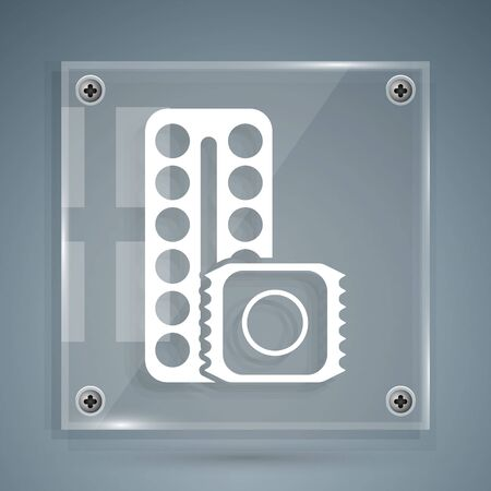 White Packaging of birth control pills and condom in package safe icon isolated on grey background. Contraceptive pill. Square glass panels. Vector Illustration