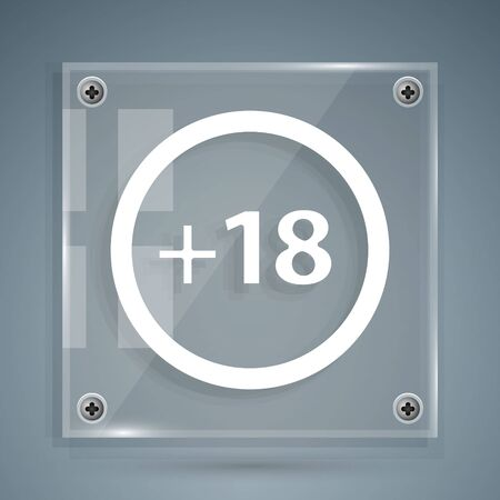 White Plus 18 movie icon isolated on grey background. Adult content. Under 18 years sign. Square glass panels. Vector Illustration