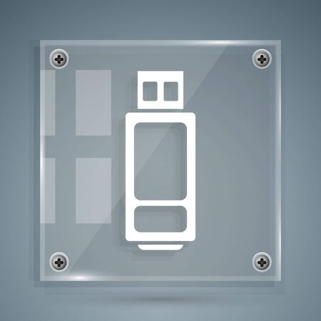 White USB flash drive icon isolated on grey background. Square glass panels. Vector Illustration