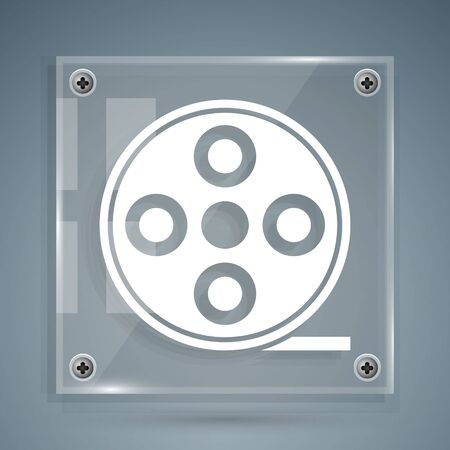 White Film reel icon isolated on grey background. Square glass panels. Vector Illustration