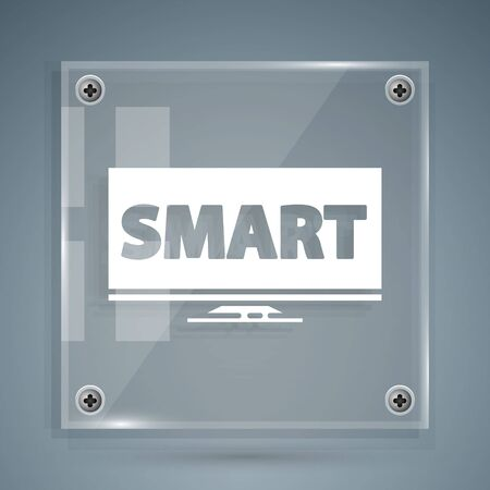 White Screen tv with Smart video technology icon isolated on grey background. Square glass panels. Vector Illustration