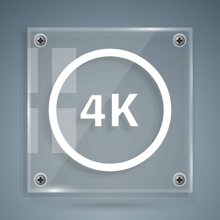 White 4k Ultra HD icon isolated on grey background. Square glass panels. Vector Illustration