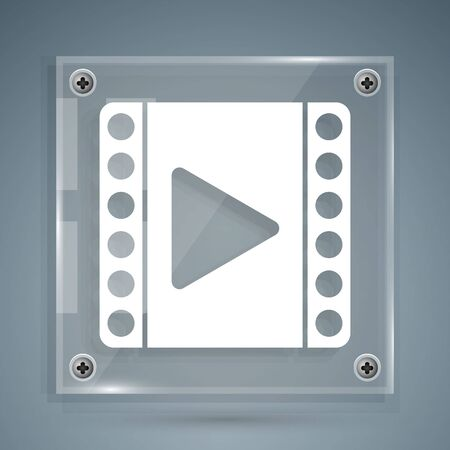 White Play Video icon isolated on grey background. Film strip sign. Square glass panels. Vector Illustration Çizim