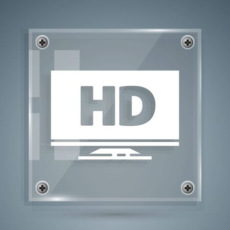 White Smart display with HD video technology icon isolated on grey background. Square glass panels. Vector Illustration 向量圖像