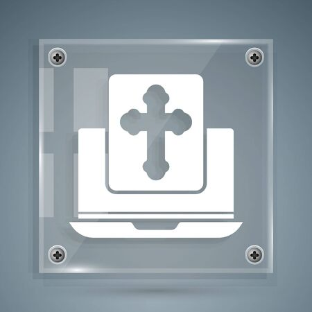 White Cross on the laptop screen icon isolated on grey background. Square glass panels. Vector Illustration