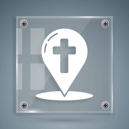 White Map pointer with christian cross icon isolated on grey background. Square glass panels. Vector Illustration