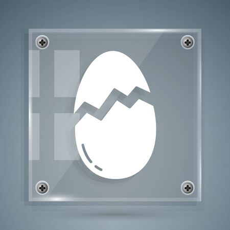 White Broken egg icon isolated on grey background. Happy Easter. Square glass panels. Vector Illustration