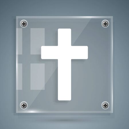 White Christian cross icon isolated on grey background. Church cross. Square glass panels. Vector Illustration
