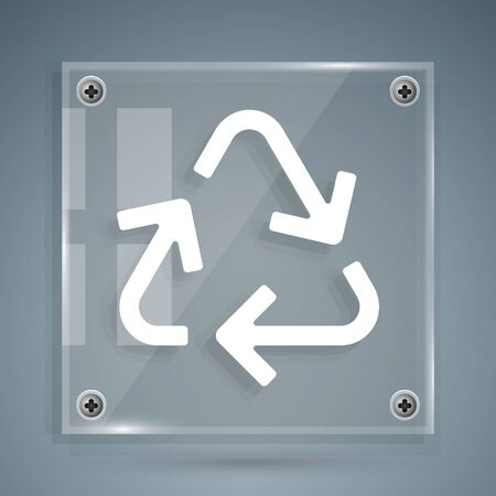 White Recycle symbol icon isolated on grey background. Circular arrow icon. Environment recyclable go green. Square glass panels. Vector Illustration