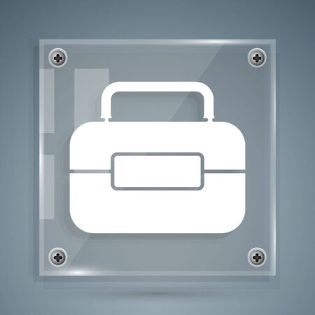 White Toolbox icon isolated on grey background. Tool box sign. Square glass panels. Vector Illustration