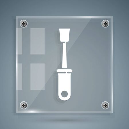 White Screwdriver icon isolated on grey background. Service tool symbol. Square glass panels. Vector Illustration