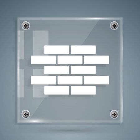 White Bricks icon isolated on grey background. Square glass panels. Vector Illustration Ilustração