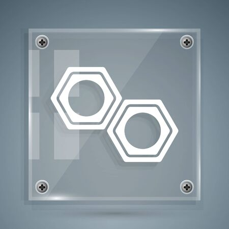White Hexagonal metal nut icon isolated on grey background. Square glass panels. Vector Illustration