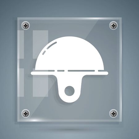 White Worker safety helmet icon isolated on grey background. Square glass panels. Vector Illustration